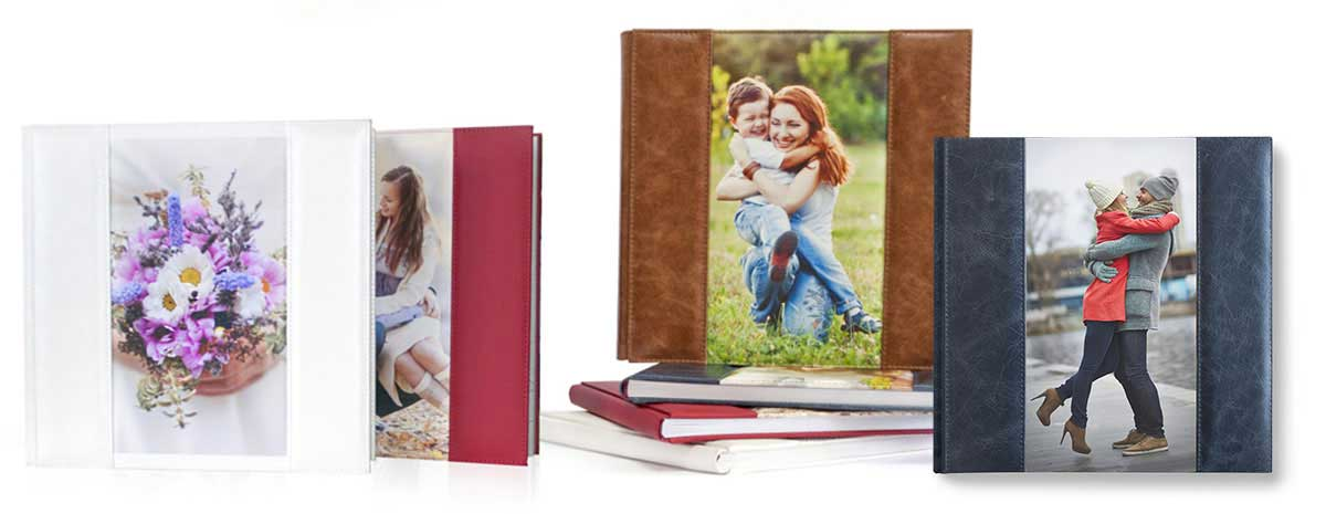 Кожаная обложка со вставкой из холста - фотокниги Софи